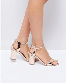 Rose Gold Heeled Sandals
