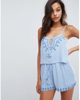 Cheesecloth Embroidered Tassel Detail Romper