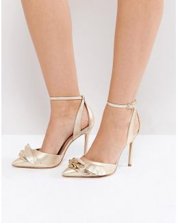 Metallic Ruffle Heeled Shoes