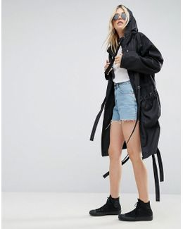 Rain Parka With Side Eyelet Detail