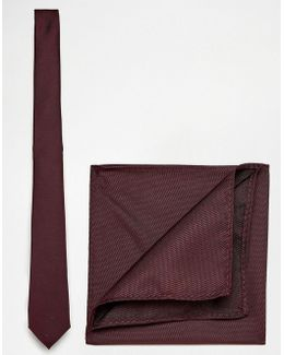 Burgundy Tie And Pocket Square Pack