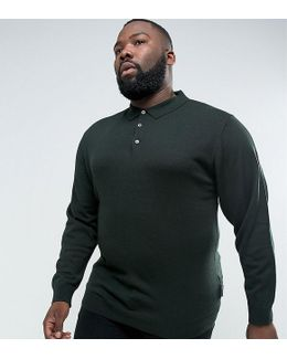 Plus Knitted Long Sleeve Polo