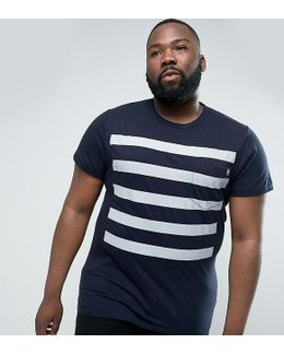Plus 5 Stripe Gradient T-shirt With Pocket