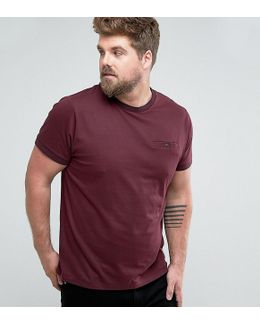 Plus T-shirt With Tipped Pocket And Collar