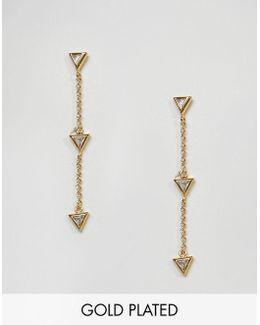 Gold Plated Arrow Drop Earrings