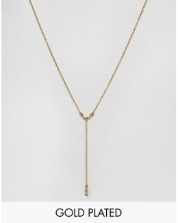 Gold Plated Lariat Necklace