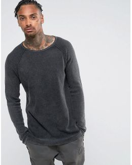 Relaxed Fit Jumper In Charcoal With Acid Wash Finish
