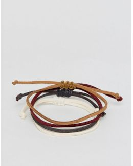 Faux Leather Bracelet Pack In Brown And Rust