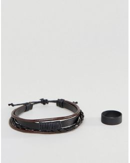 Bracelet And Ring Pack In Black