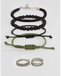 Woven Bracelet Pack And Burnished Rings