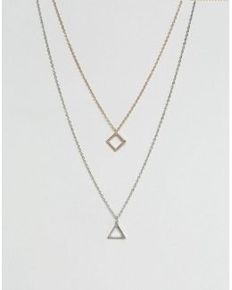 Ditsy Layered Neckchains In Mixed Metals