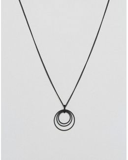 Black Coated Necklace With Ditsy Charm