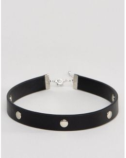 Choker In Faux Leather With Studding