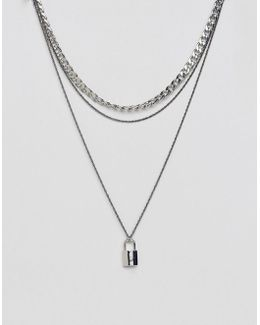Double Layer Chain With Padlock In Silver