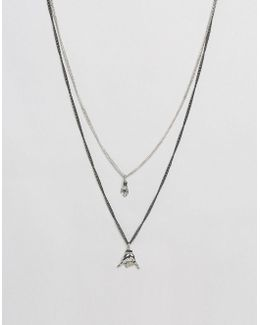 Double Layer Necklace With Hand Charms In Gunmetal