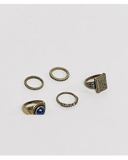 Chunky Ring Pack In Burnished Gold With Embossing And Stone Interest
