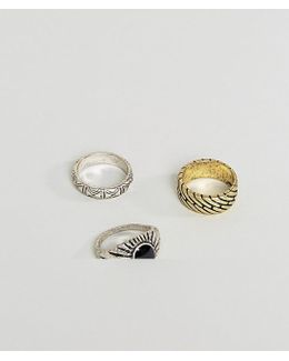 Ring Pack In Mixed Metals And Stone