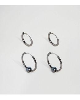 Hoop Earring Pack In Gunmetal