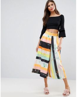 Mixed Stripe Floral Culottes