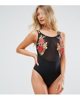 Embroidered Mesh Swimsuit B-f Cup