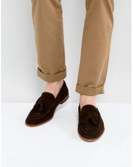 Loafers In Brown Suede With Tassels