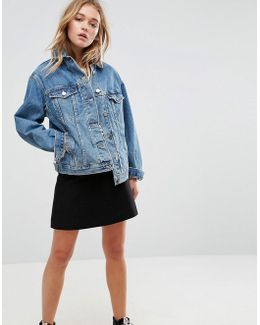 Denim Oversized Jacket In Mid Wash Blue