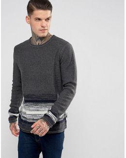 Striped Bottom Wide Round Neck Knitted Jumper