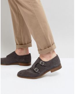 Monk Shoes In Grey Suede With Perforated Detail
