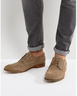 Derby Shoes In Stone Suede With Perforated Detail