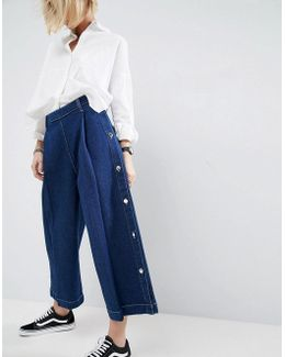 Wide Leg Jean With Button Detail In Mid Blue Wash