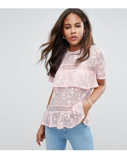 Lace Top With Tiers And Dip Back
