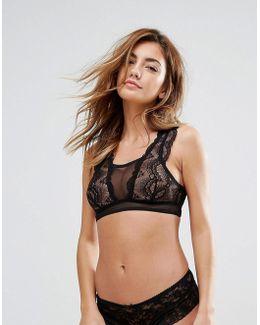Black Lace Sleeved Bra