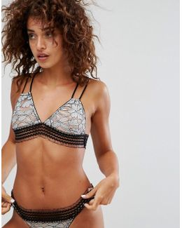 Metallic Lace Triangle Bra