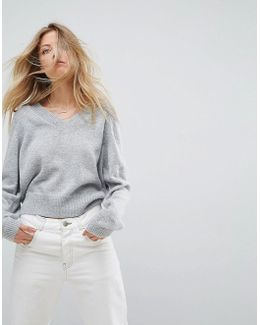 Cropped Sweater With V Neck In Mohair Blend