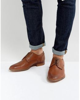 Derby Shoes In Tan Leather With All Over Texture Emboss