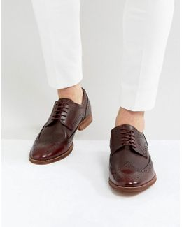 Brogue Shoes In Burgundy Leather With Natural Sole