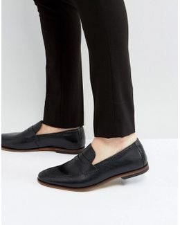 Loafers In Black Leather With Brogue Detail And Natural Sole
