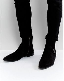 Chelsea Boots In Black Suede With Strap Buckle Detail