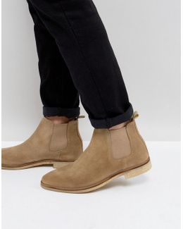 Chelsea Boots In Stone Suede With Natural Sole