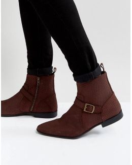 Chelsea Boots In Burgundy Suede With Buckle Detail And Zips