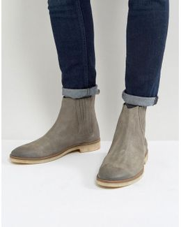 Chelsea Boots In Grey Suede With Natural Sole
