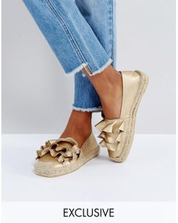 Rose Gold Ruffle Espadrille Shoes