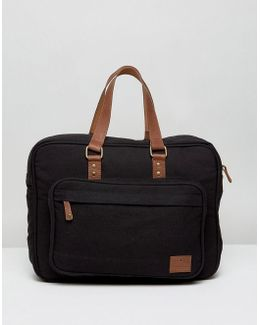 Briefcase In Canvas With Leather Trims