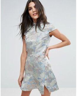 Jacquard High Neck Dress