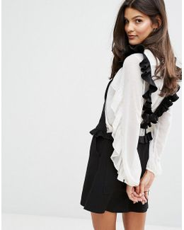 Pinafore Dress With Frill Back Detail