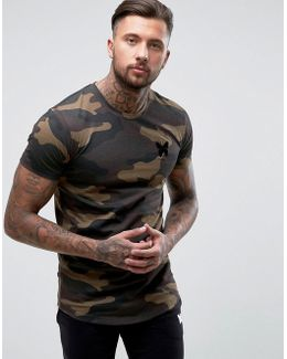 T-shirt In Khaki Camo