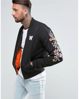 Bomber Jacket In Black With Embroidered Floral Sleeves