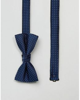 Bow Tie With Spot In Blue