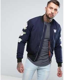 Bomber Jacket In Navy With Embroidered Rose Sleeves