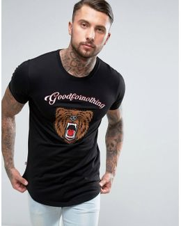 T-shirt In Black With Embroidered Bear